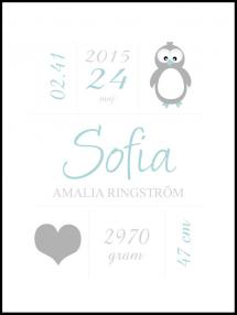 Penguin Birth Poster Green
