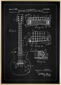 Patenttegning - El-gitar I - Svart
