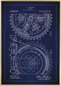 Patenttegning - Tannhjul - Blå