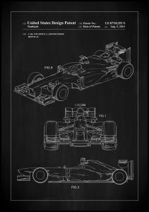 Patent Print - Formula 1 Racing Car - Black Plakat