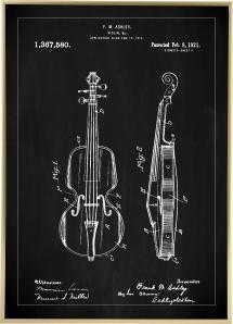 Patenttegning - Fiolin - Svart