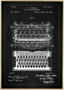 Patenttegning - Skrivemaskin - Svart