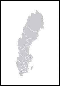 Sverigekart Grå