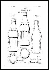Patenttegning - Coca Cola-flaske - Poster Plakat