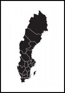 Sverigekart Svart