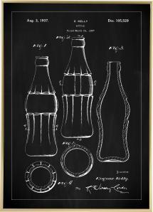 Patenttegning - Coca Cola-flaske - Svart