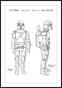 Patenttegning - Star Wars - Boba Fett - Hvit