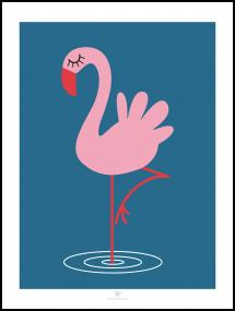 Flamingo - Blue Plakat