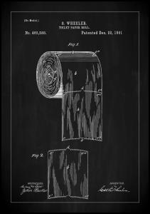 Patent Print - Toilet Paper Roll - Black Plakat