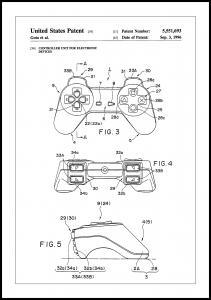 Patent Print - Game Controller II - White Plakat