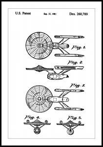 Patenttegning - Star Trek - USS Enterprise - Poster Plakat