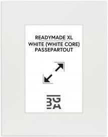 Passepartout XL Hvit (Hvit kjerne) 40x50 cm (19x29)