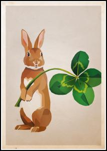 Rabbit with clover Plakat