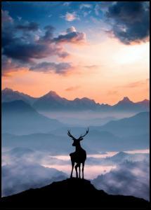 Heavenly Blue Deer Plakat