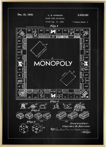 Patenttegning - Monopol I - Svart Plakat