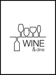 Wine & dine - Hvit med svart trykk