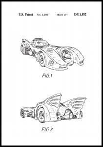 Patenttegning - Batman - Batmobile 1990 I - Plakat