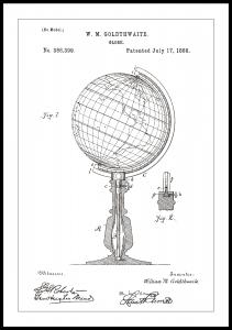 Patenttegning - Globus - Hvit Plakat