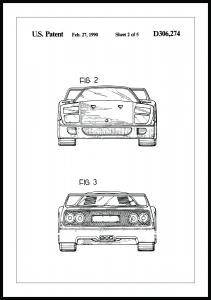 Patenttegning - Ferrari F40 III - Poster Plakat