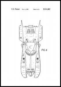 Patenttegning - Batman - Batmobile 1990 IIII - Plakat