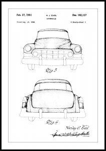 Patenttegning - Cadillac II - Poster Plakat