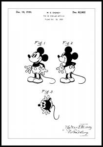 Patenttegning - Disney - Mickey Mouse - Poster