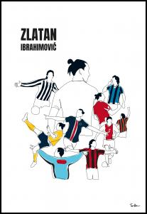 History Of Zlatan With Name And-Colours Plakat