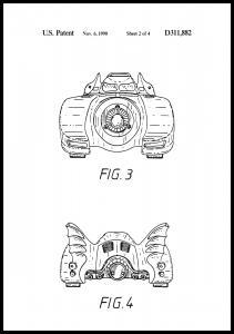 Patenttegning - Batman - Batmobile 1990 II - Plakat