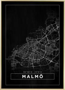 Kart - Malmö - Poster - Svart