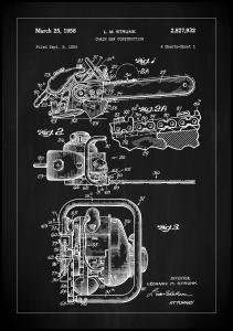 Patent Print - Chain Saw - Black Plakat