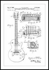 Patenttegning - El-gitar I - Poster Plakat