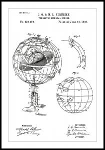Patenttegning - Astronomisk modell - Hvit