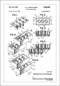 Patent Print - Lego Block I - White