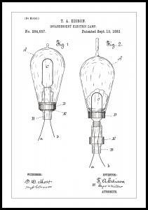 Patenttegning - Lyspære A - Hvit Plakat