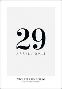 Fødselsplakat - Dato - Grå