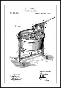 Patent Print - Washing Machine - White Plakat
