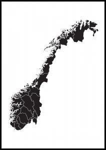Kart - Norge - Svart
