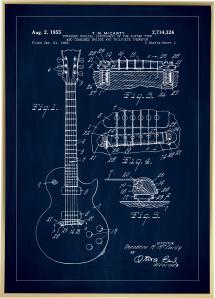 Patenttegning - El-gitar I - Blå Plakat