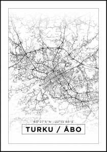 Map - Turku / Åbo - White
