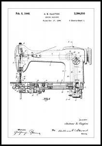 Patenttegning - Symaskin I - Poster Plakat