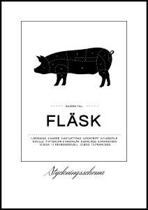 Oppdelingsplansje Svin Poster Plakat