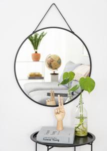 Speil Trapani Svart 60 cm Ø