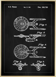 Patenttegning - Star Trek - USS Enterprise - Svart