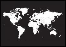 Verdenskart Hvit Med Svart Bakgrunn
