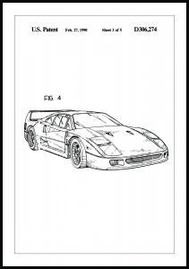 Patenttegning - Ferrari F40 II - Poster