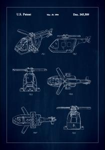 Patent Print - Lego Helicopter - Blue