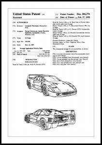 Patenttegning - Ferrari F40 I - Poster