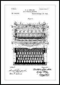 Patenttegning - Skrivemaskin - Poster Plakat