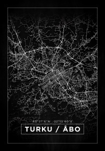 Map - Turku / Åbo - Black