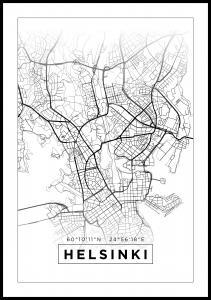 Kart - Helsinki - Hvit Plakat